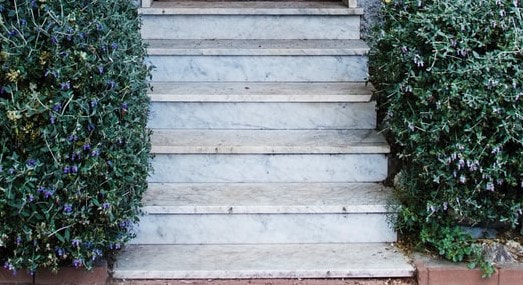 These concrete stairs were stained to mimic the look of marble. This photo was taken in Coquitlam.